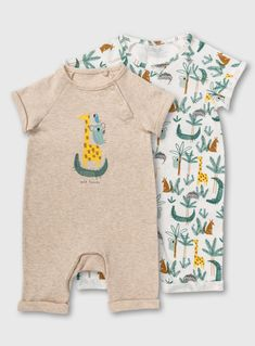 Safari Print & Oatmeal Animal Stack Romper 2 Pack Months) from Tu at Sainsbury's ! Cute Baby Boy Outfits, Baby Outfits Newborn, Baby Boy Newborn, Cute Baby Clothes, Baby Boy Knitting, Kids Tops, Toddler Boy Fashion, Baby Prints, Swagg
