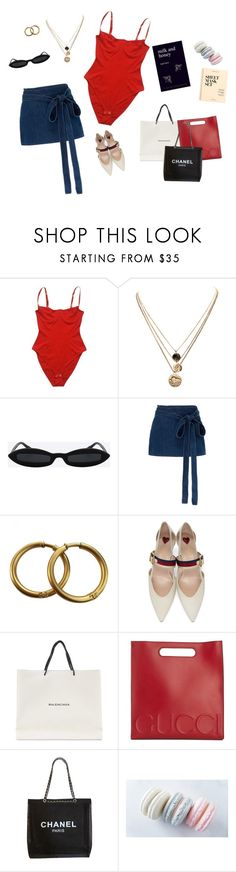"""""""Untitled #104"""" by thatgirlslay ❤ liked on Polyvore featuring American Apparel, LowLuv, J.W. Anderson, Chanel, Gucci, Balenciaga and J.Crew"""