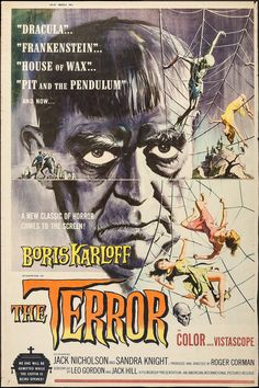 "nekasuz: "" ""No one will be admitted while the coffin is being opened""…The Terror, 1963 with Boris Karloff and also starring Jack Nicholson. Artwork by Reynold Brown """