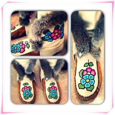 #Beautiful #Crow #Boots from Behchoko, NT. #Love the colours and #embroidery. #NT #Tlicho #moccasins
