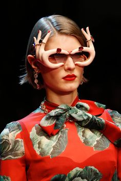 2fd10f1ab3 10 totally extra sunglasses at the Dolce   Gabbana show this weekend