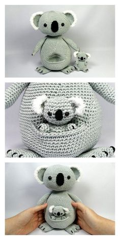 Educational and interesting ideas about amigurumi, crochet tutorials are here. Crochet Elephant Pattern Free, Crochet Amigurumi Free Patterns, Crochet Animal Patterns, Crochet Bear, Stuffed Animal Patterns, Crochet Dolls, Koala Kawaii, Baby Kind, Crochet Projects