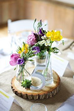 Rustic Table Centres - perfect for a country marquee wedding.