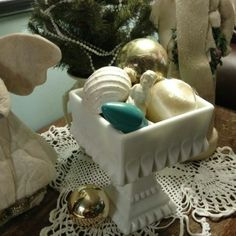 How many Milk Glass compotes do I have filled with little Vintage finds? Oh, a zillion!