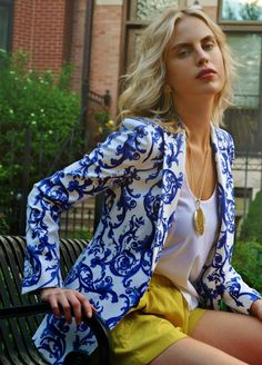 patterned blue & white blazer, yellow shorts, white top
