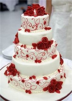 Red and white wedding cake from Rentara Events Management