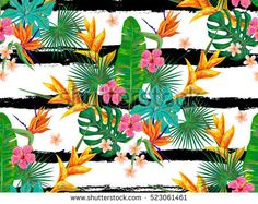 Summer jungle pattern with exotic flowers and palm leaves hand drawn background. Tropical seamless pattern. Perfect for wallpapers, pattern fills, web page backgrounds, surface textures, textile