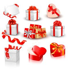 Exquisite gift boxes with ribbon vector set 05