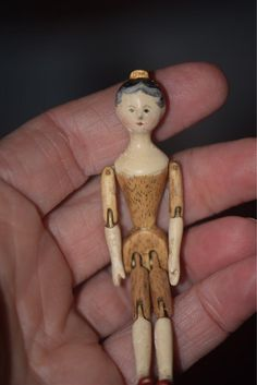 Old Doll Grodnertal Tuck Comb Miniature Dollhouse Wood Carved Jointed from oldeclectics on Ruby Lane