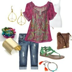 Love the shirt, capris, & bag.  Spring/ Mia, created by shayck on Polyvore by jacqueline