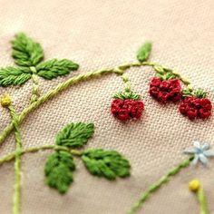Japanese Embroidery Kit Beginner Kazuko Aoki Embroidery DIY Kit Easy Stitch Tutorial Berry Tea Mat Hand Embroidery Design EK001