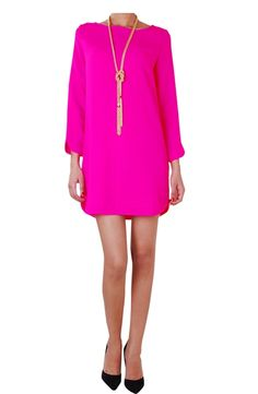 Long sleeve hot pink shift dress