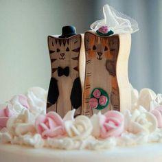 Cat Wedding Cake Topper, Renewable Poplar Wood Custom Animals as Bride and Groom. $65.00, via Etsy.