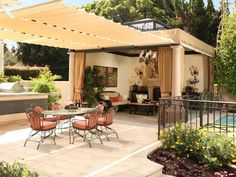 A retractable awning lets you entertain in the shade during the day and enjoy stargazing at night.