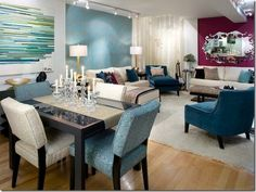 dinning area/ living room love the color combo.