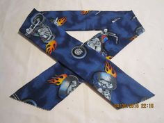 """Extra Wide 3"""" Reusable Non-Toxic Cool Wrap / Neck Cooler  - Motorcycles/Goth - Flaming Motorcycles by ShawnasSpecialties on Etsy"""