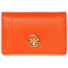TORY BURCH Saffiano Leather Card Holder Wallet ($140) via Polyvore