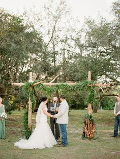 You will love the neutral hues and sweet handmade details of this Florida ranch wedding from Caroline Maxcy Photography! How amazing is the ceremony arch the groom hand-crafted himself? Ceremony Arch, Wedding Ceremony Decorations, Aisle Style, Woodland Wedding, Groom, Florida, Organic, Rustic, Weddings