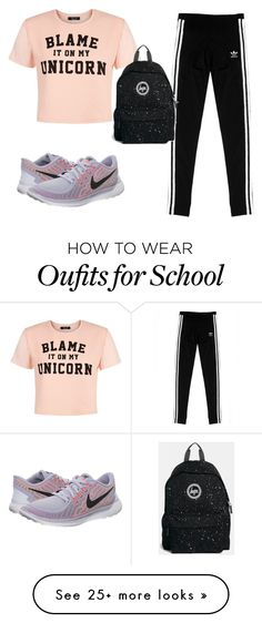 """Ready for school"" by mousecheese on Polyvore featuring NIKE, adidas Originals, Hype, women's clothing, women, female, woman, misses and juniors"