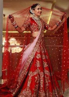 Manish Malhotra Bridal Collection - Classic Red And Soft Pink Lehenga Wedding Lehenga Designs, Wedding Lehnga, Designer Bridal Lehenga, Indian Bridal Lehenga, Indian Bridal Outfits, Indian Bridal Wear, Pakistani Wedding Dresses, Bridal Dresses, Wedding Hijab