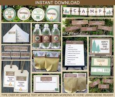 Camping Birthday Invitation & Printable party decoration