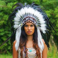 Black Native American Headdress - 75cm                                                                                                                                                                                 Más
