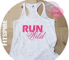 Run WIld / White Racer Back Tank Top Shirt / by FitSpireThreads, $18.99