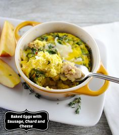 Baked Eggs with Chicken Sausage, Chard and Cheese