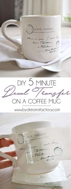 DIY 5 minute decal transfer on a coffee mug - Dreams Factory DIY 5 minute decal transfer on a coffee mug - learn how to quickly decorate your coffee mugs with your favorite images and make your mornings more chic and beautiful Crafts To Make, Fun Crafts, Paper Crafts, Diy Crafts Vintage, Vintage Ideas, Creative Crafts, Photo Transfer, Transfer Paper, Wax Paper Transfers
