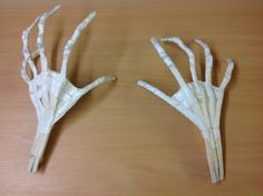 Skeleton hands. Electrical wire and masking tape