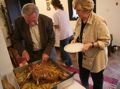 Roast spring lamb with potatoes, at the home of Lesteres Glivanos and his wife, Anne-Marie, in Zitsa, Epirus.