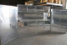 Diamond Plate Garage Cabinets made from real aluminum diamond plate