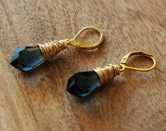 Gold Wire Wrapped Earrings with Sapphire Blue by RawLuxGems, $16.00