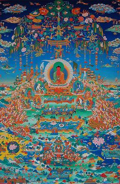 Glorious Sukhavati Realm Of Buddha Amitabha Canvas Print / Canvas Art by Art…