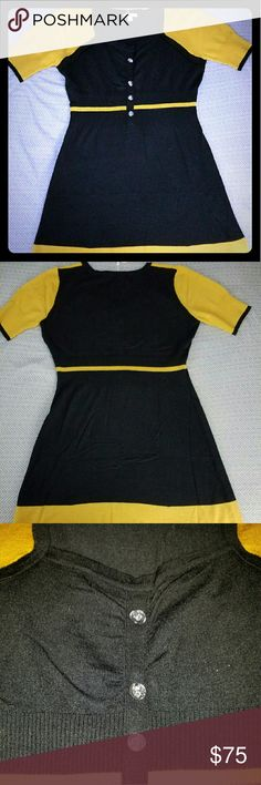 Sweaterdress by KLING Kling sweaterdress Only Available in Spain & Not for Sale in the USA! This is the Only piece you can buy here in the US delivered from NY.  Color block sleeves with Black & Yellow, Button Details, Very Stretchy so it fits a Size Small and Medium/Large. Will be more fitted on the Butt and Legs for a Thicker person than pictured here on Model.  Excellent Quality Sweater Material  Please feel free to ask questions. KING Dresses Mini