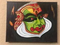 Kerala Mural Painting -Kathakali Kerala Mural Painting, Krishna Painting, Madhubani Painting, Dance Paintings, Indian Art Paintings, Landscape Paintings, Acrylic Painting Canvas, Fabric Painting, Diy Art Projects Canvas