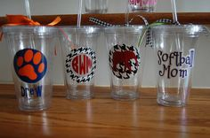 Vinyl Alabama Auburn houndstooth acrylic double walled insulated straw tumbler personalized monogrammed discount for orders of 4 or more on Etsy, $10.00