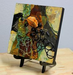 "CAROL NELSON FINE ART BLOG: Mixed Media Organic Abstract, ""First to Fall"" © Carol Nelson Fine Art"