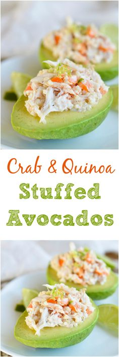 Crab and Quinoa Salad Stuffed Avocados - This fresh and healthy recipe that is full of flavor and gluten free!