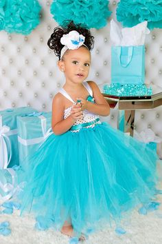 Tiffany and Co inspired tutu flowergirl dressby GlitterMeBaby