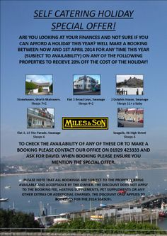 off any holiday bookings made before the April on 5 of Miles and Sons holiday letting properties in Swanage & the Isle of Purbeck, Dorset Holiday Booking, Holiday Lettings, Holiday Accommodation, Travel Ideas, Sons, Let It Be, My Son, Boys
