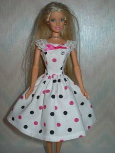 Handmade Barbie clothes - white dress with pink and black dots