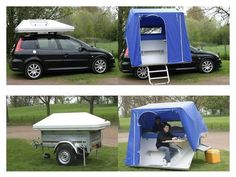 A great spin on the roof top tent idea, sleeping Two plus a covered area with a fold up seat and table... I like it... More details (if you speak French that is) @ http://jcrodier.free.fr/index.htm