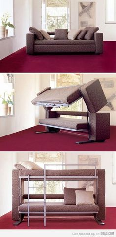 Sofa Converts to a Bunk Bed ~ Now That's Nifty