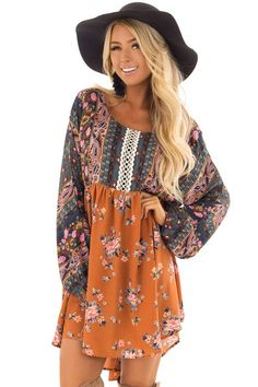 Ginger and dark blue boho dress with sheer embroider detail front closeup Womens Fashion Casual Summer, Over 50 Womens Fashion, Fashion Over 50, Fashion Tips For Women, Boho Fashion, Fabulous Dresses, Cute Dresses, Cute Boutiques, Boutique Dresses