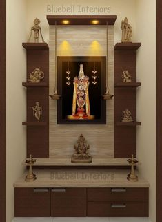 - TV Unit Models & Ideas - Italian marble cladding, wall shelves, two step unit, hanging deepam in pooja room Two steps pooja u. Temple Room, Home Temple, Bedroom Cupboard Designs, Living Room Designs, Room Interior, Home Interior Design, Temple Design For Home, Mandir Design, Pooja Room Door Design