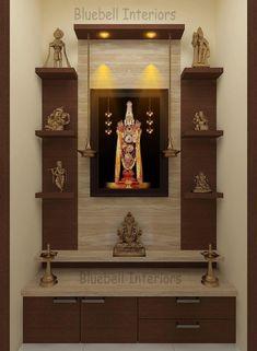 - TV Unit Models & Ideas - Italian marble cladding, wall shelves, two step unit, hanging deepam in pooja room Two steps pooja u.