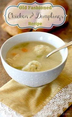 Old Fashioned Chicken and Dumplings Recipe. This is a true homesteading recipe and the flavor is so good! Old Fashioned Chicken and Dum Real Food Recipes, Soup Recipes, Chicken Recipes, Cooking Recipes, Chicken Soups, Turkey Recipes, Old Fashioned Chicken And Dumplings Recipe, Chicken Dumplings, Gastronomia