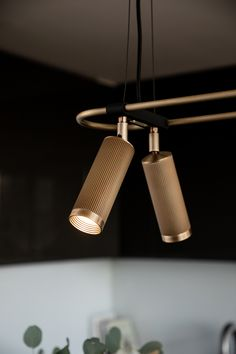 Our Spot pendant - a configurable system of machined spots heads on a twin brass rail Task Lighting, Accent Lighting, Lighting Design, Pendant Lighting, Mr11 Led, Wall Light With Switch, Wall Railing, Wall Lights, Ceiling Lights