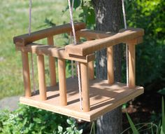 Vintage Handmade Wooden Baby Tree Swing...Eco Friendly
